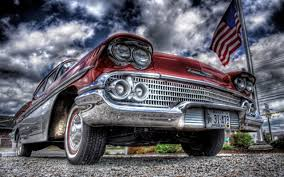 old red car and usa flag hdr wallpaper