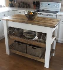 Kitchen Islands Atlanta White Brown Wooden Move Able Kitchen Island With Two Shelves For