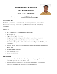 Best Resume Sample For Nurses by Sample Curriculum Vitae For New Nurses