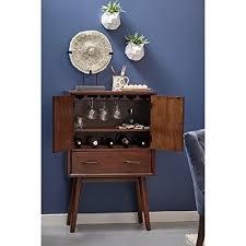 Gold Bar Cabinet 2 Door Wine Cabinet W Drawer Mid Century Modern Bar Cabinet W