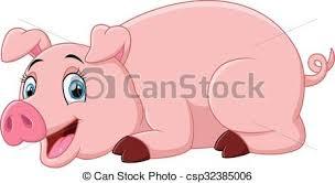 vector clipart cartoon pig lay vector illustration