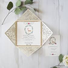 printable wedding invitations ivory laser cut gold glittery printable wedding invitations with