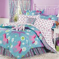 Light Blue Twin Comforter Country Living Purple Blue U0026 Pink Pony Horse Kids Twin Comforter