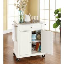 stainless steel top portable kitchen island cart in white finish
