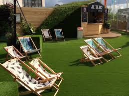 deck chairs on john lewis roof garden designed by tony woods