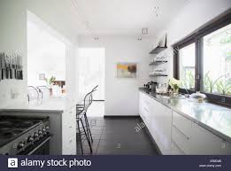 modern kitchen breakfast bar counters and breakfast bar in modern kitchen stock photo royalty