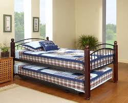 pop up trundle bed frame twin size cherry finish wood metal day