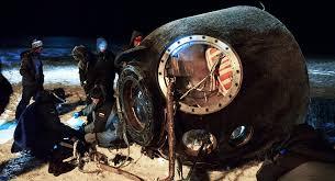 soyuz tma 20m reentry capsule with crewmembers lands in