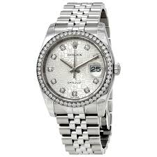 diamond rolex rolex oyster perpetual datejust 36 silver dial stainless steel