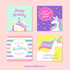 unicorn cards pack vector free