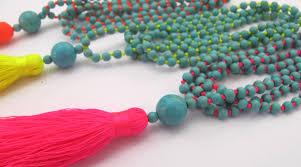bright beaded tassel necklace aqua beaded neon brights