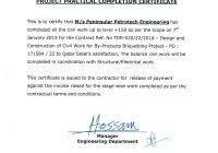 construction certificate of completion template best and various