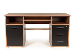 bureau informatique en bois bureau informatique avec caisson tiroirs niches en bois l145xh75cm