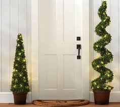 indoor outdoor lit led boxwood topiary pottery barn