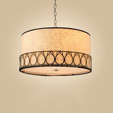 Rustic Drum Pendant Lighting 3 Light Fabric Shade