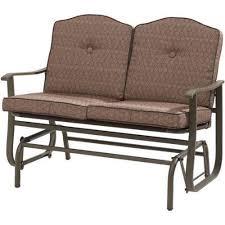 glider brown outdoor bench steel patio furniture garden cushions