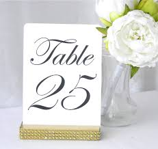 gold wedding table numbers gold wedding table number holder with a rhinestone wrap 5 inch