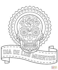 dia de los muertos sugar skull coloring page free printable