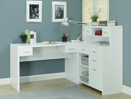 furniture l shaped white wooden corner desk with hutch and