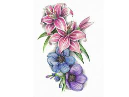 Ladybug And Flower Tattoos - lilies and violet tattoo design