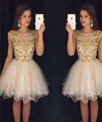 free shipping buy best gold sequin short prom dresses 2017