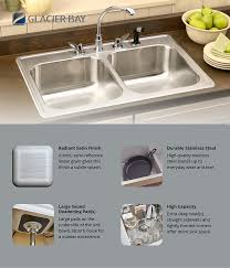 Kitchen Sink Capacity by Glacier Bay Drop In Stainless Steel 33 In 4 Hole Double Basin