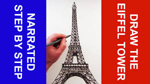 how to draw the eiffel tower narrated step by step youtube