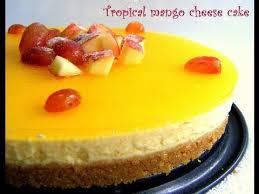 Kek Mango no bake mango cheese cake eggless