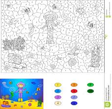 color by number educational game for kids diver on the ocean fl