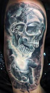 skull with clockwork tattooed tattoos horror
