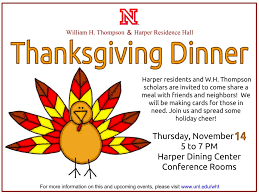 w h thompson scholars annual thanksgiving dinner note