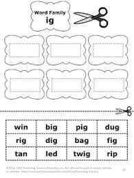 families worksheets part i 1st grade phonics practice cut and paste