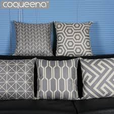 jet de canap coton géométrique gris coussin décoratif couvre taie d oreiller de jet