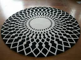 Modern Circular Rugs Wool Large Area Rugs Luxury Prayer Carpet Modern Black White