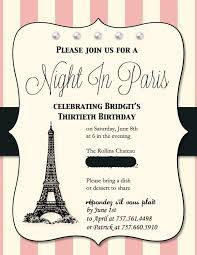 paris themed birthday invitations paris themed birthday