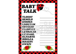 Ladybug Baby Shower Centerpieces by Ladybug Baby Shower Game Ladybug Baby Word Scramble Ladybug