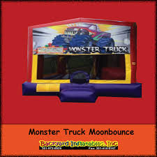 Backyard Bounce Monster Truck Moon Bounce With Slide Backyard Inflatables