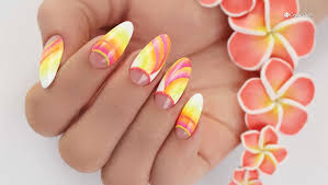 color gradient ombre nails with crystal nails neon art gels step