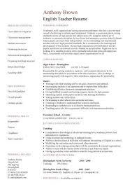 Esl Sample Resume by Sample Resume For Teacher Of English Templates