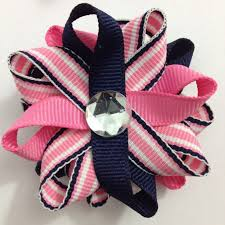 handmade hair bows navy blue hot pink stripe small hair bow set handmade small ha