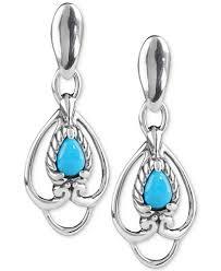 turquoise drop earrings carolyn pollack turquoise drop earrings 5 8 ct t w in sterling