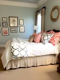 Dark Cozy Bedroom Ideas Completed Linen Navy And Coral Bedroom To See More Rooms In My