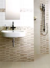 unique bathroom tiles wall ideas with unique white sink plus alluring mosaic tiles wall design for small bathroom space feat trendy floating sink under frameless mirror