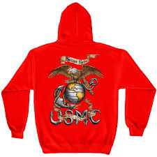 semper fi marines usmc red graphic hoodie sweatshirt free shipping
