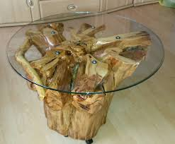 handmade coffee table from whole apple tree stump root wooden