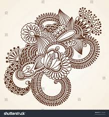 handdrawn abstract henna mehndi flowers doodle stock vector