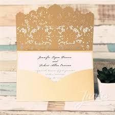 Wedding Invitation Pocket Graceful Gold Laser Cut Pocket Wholesale Wedding Invitation