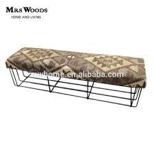 vintage industrial metal frame ottoman bench upholstered kilim