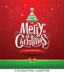 vector clipart of merry christmas lettering design background