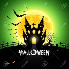 happy halloween house scary on green background royalty free